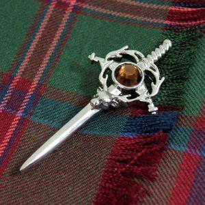 New Scottish Pewter Stag Sword Kilt Scarf Pin BIG